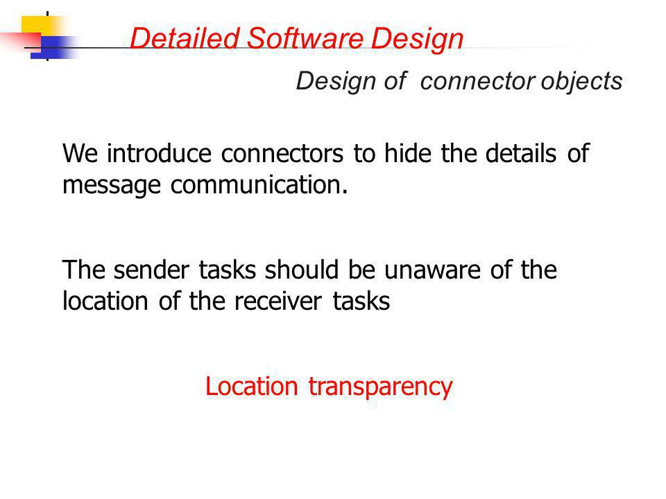 Detailed Software Design Design of connector objects We introduce connectors to hide the details of message communication. The sender tasks should be