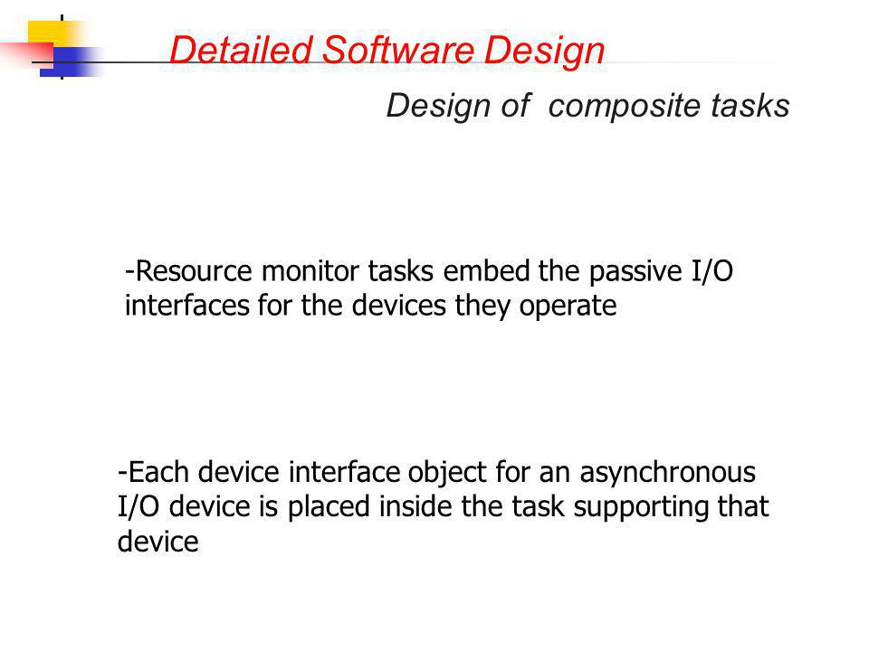 Detailed Software Design - -Each device interface object for an asynchronous I/O device is placed inside the task supporting that device - -Resource m