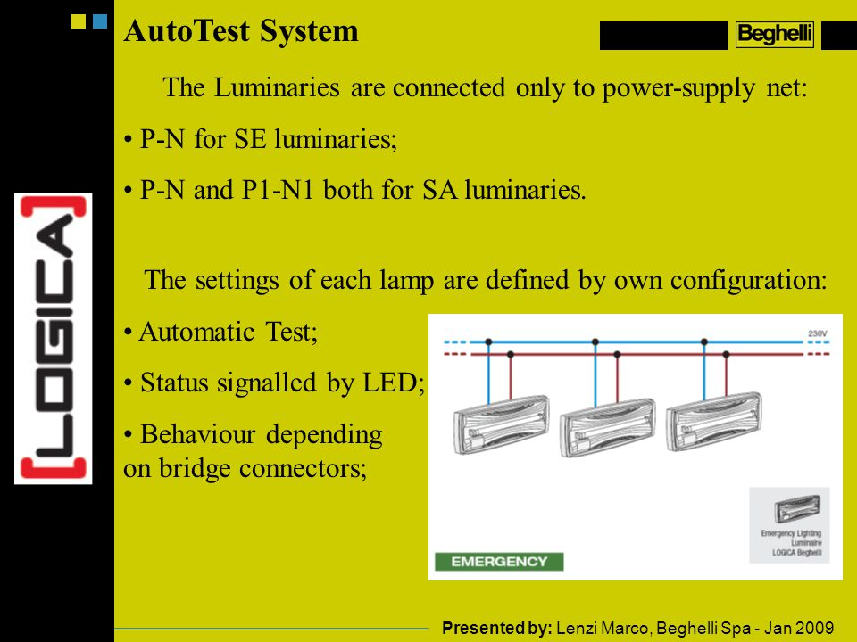 AutoTest System The Luminaries are connected only to power-supply net: P-N for SE luminaries; P-N and P1-N1 both for SA luminaries.