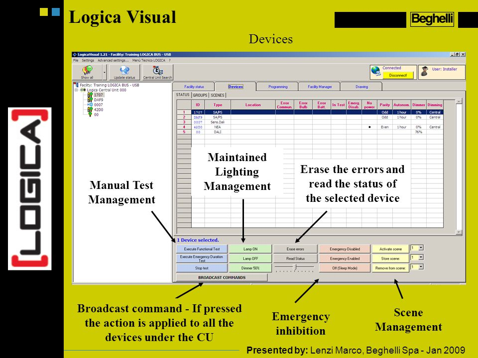 Logica Visual Devices Manual Test Management Maintained Lighting Management Broadcast command - If pressed the action is applied to all the devices under the CU Erase the errors and read the status of the selected device Emergency inhibition Scene Management Presented by: Lenzi Marco, Beghelli Spa - Jan 2009