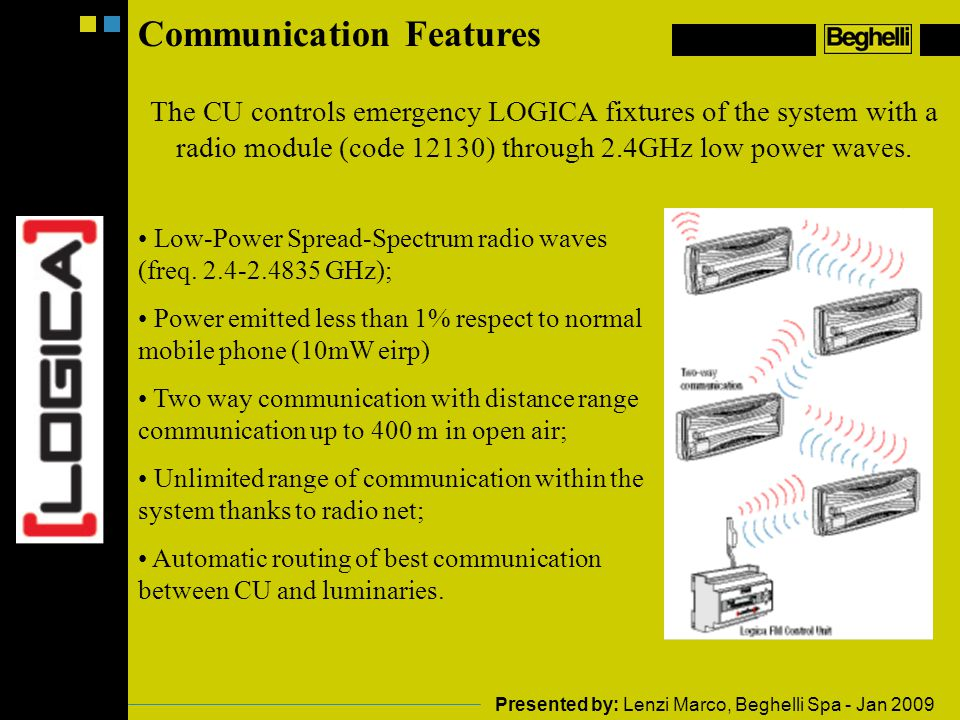 Communication Features The CU controls emergency LOGICA fixtures of the system with a radio module (code 12130) through 2.4GHz low power waves.