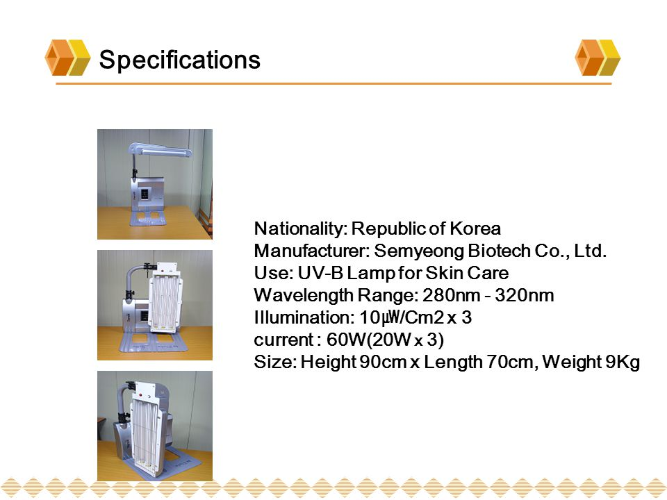 Specifications Nationality: Republic of Korea Manufacturer: Semyeong Biotech Co., Ltd.