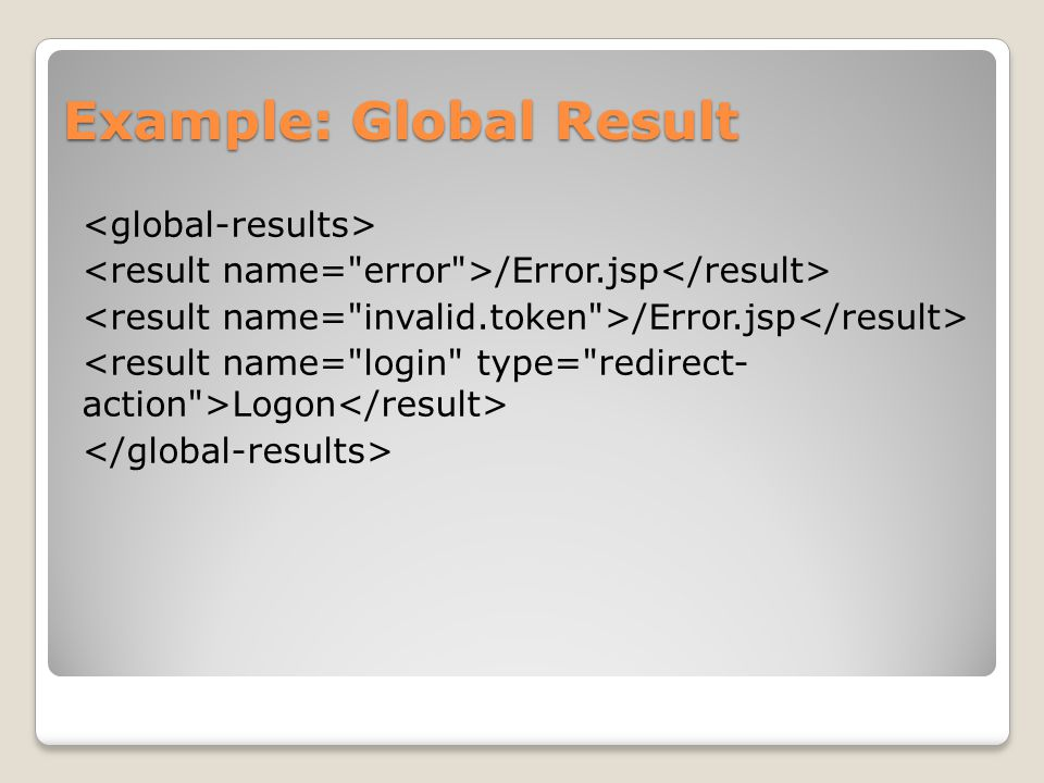 Example: Global Result /Error.jsp Logon