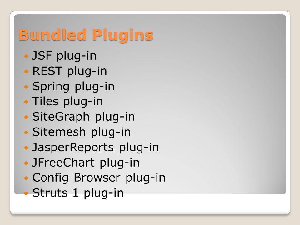 Bundled Plugins JSF plug-in REST plug-in Spring plug-in Tiles plug-in SiteGraph plug-in Sitemesh plug-in JasperReports plug-in JFreeChart plug-in Conf