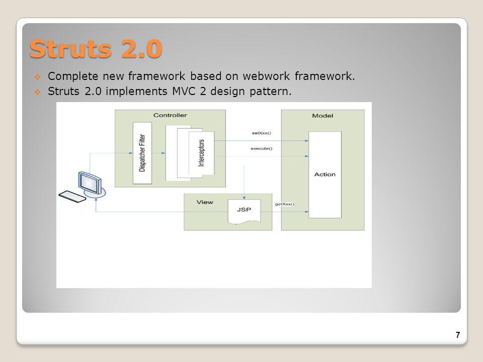 Complete new framework based on webwork framework. Struts 2.0 implements MVC 2 design pattern. Struts 2.0 7