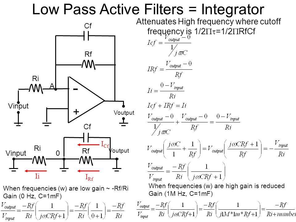 Low Pass Active Filters = Integrator Attenuates High frequency where cutoff frequency is 1/2 =1/2 RfCf - + Voutput Vinput Ri A Rf Cf Rf Ri Voutput 0 I