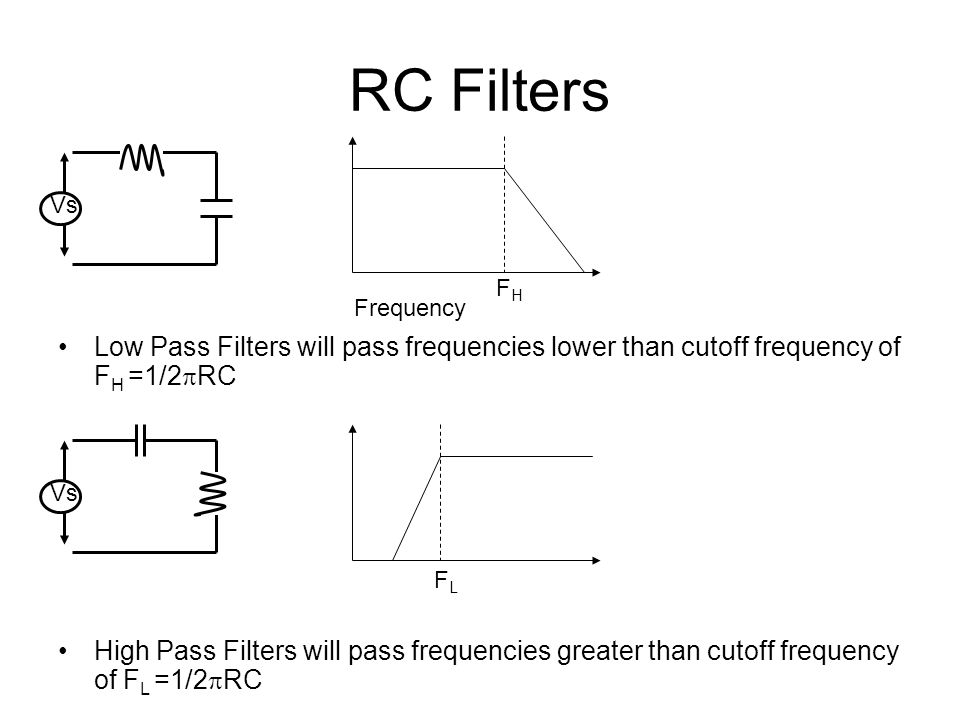RC Filters Low Pass Filters will pass frequencies lower than cutoff frequency of F H =1/2 RC Vs Frequency High Pass Filters will pass frequencies grea