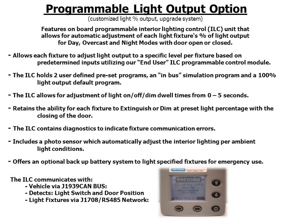 Programmable Configuration Onboard Control Module Screen Sample Snap Shot
