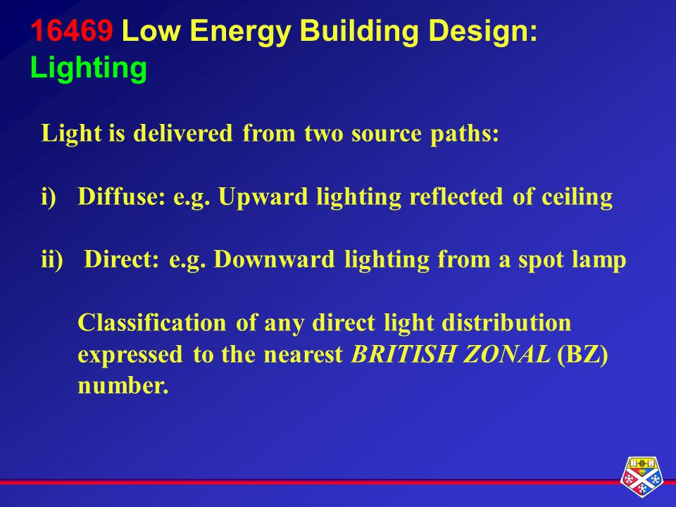 16469 Low Energy Building Design: Lighting Light is delivered from two source paths: i)Diffuse: e.g.