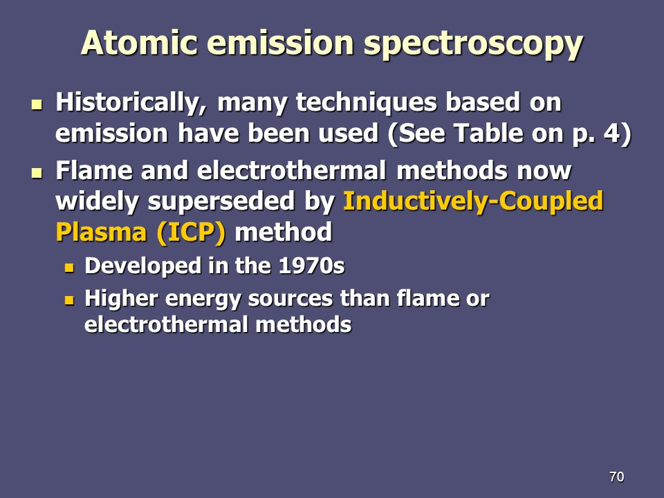 70 Atomic emission spectroscopy Historically, many techniques based on emission have been used (See Table on p.