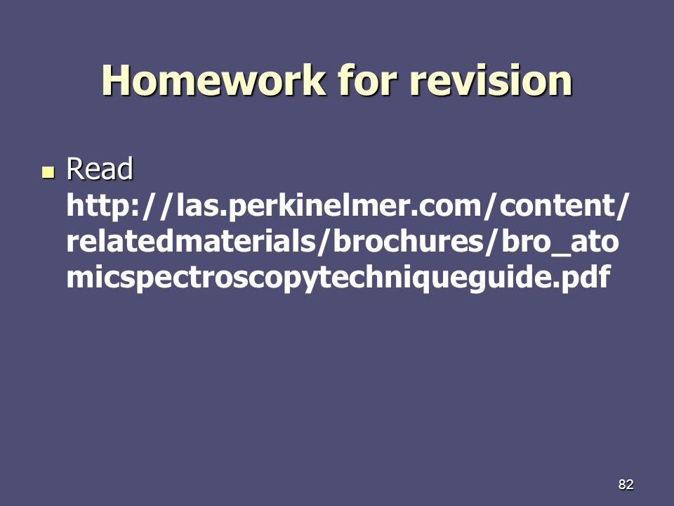82 Homework for revision Read Read http://las.perkinelmer.com/content/ relatedmaterials/brochures/bro_ato micspectroscopytechniqueguide.pdf