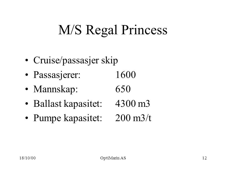 18/10/00OptiMarin AS12 M/S Regal Princess Cruise/passasjer skip Passasjerer: 1600 Mannskap: 650 Ballast kapasitet: 4300 m3 Pumpe kapasitet: 200 m3/t