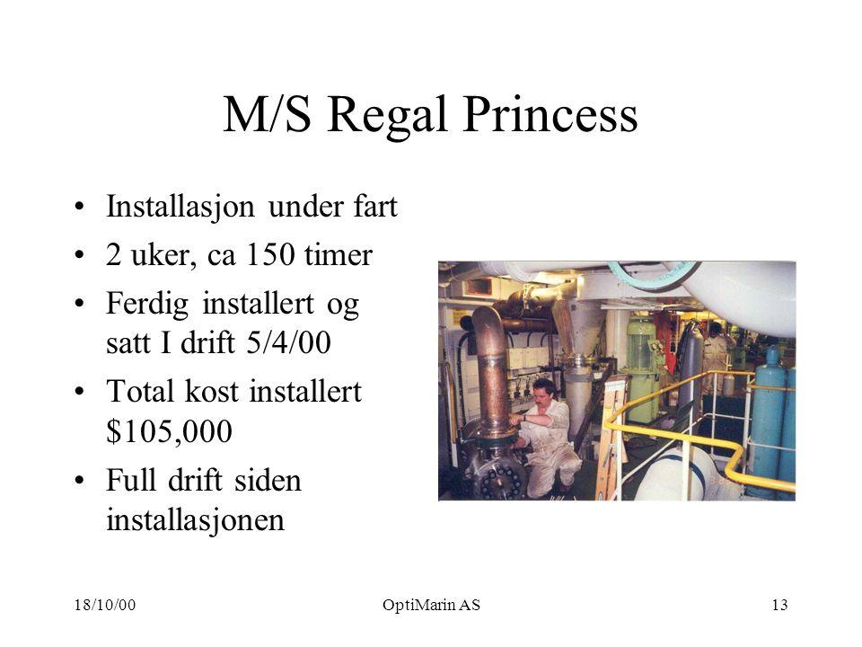 18/10/00OptiMarin AS13 M/S Regal Princess Installasjon under fart 2 uker, ca 150 timer Ferdig installert og satt I drift 5/4/00 Total kost installert $105,000 Full drift siden installasjonen
