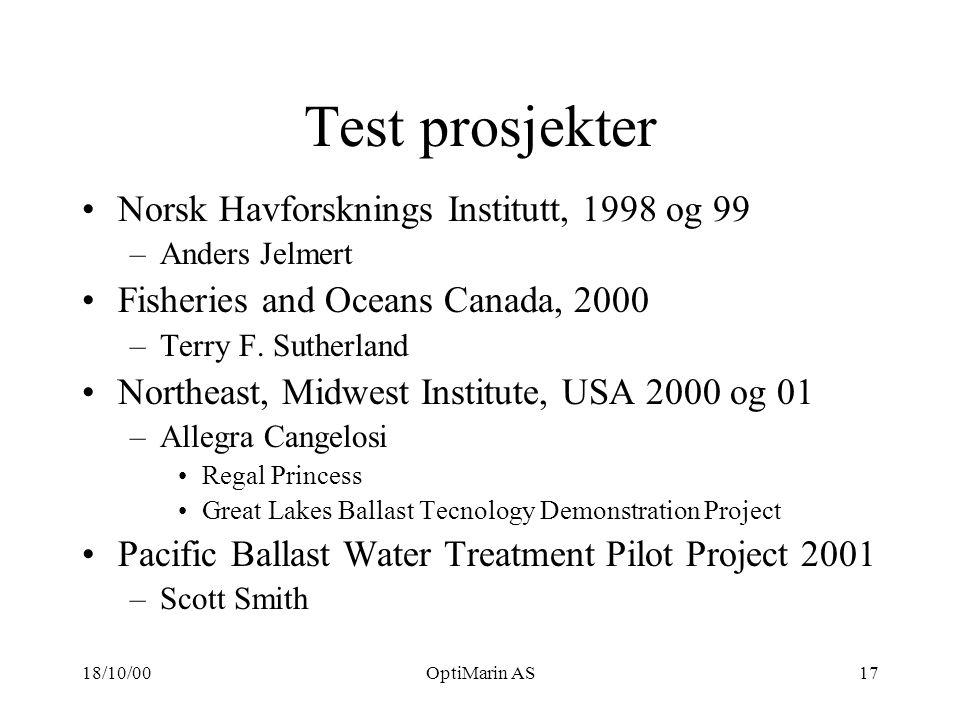 18/10/00OptiMarin AS17 Test prosjekter Norsk Havforsknings Institutt, 1998 og 99 –Anders Jelmert Fisheries and Oceans Canada, 2000 –Terry F.
