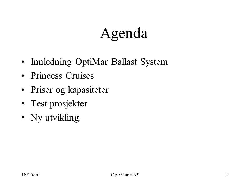 18/10/00OptiMarin AS2 Agenda Innledning OptiMar Ballast System Princess Cruises Priser og kapasiteter Test prosjekter Ny utvikling.