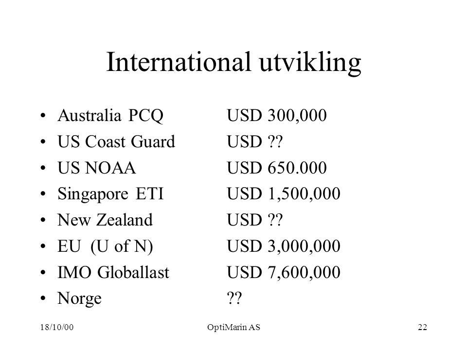 18/10/00OptiMarin AS22 International utvikling Australia PCQUSD 300,000 US Coast GuardUSD .