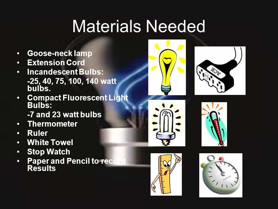 Materials Needed Goose-neck lamp Extension Cord Incandescent Bulbs: -25, 40, 75, 100, 140 watt bulbs. Compact Fluorescent Light Bulbs: -7 and 23 watt