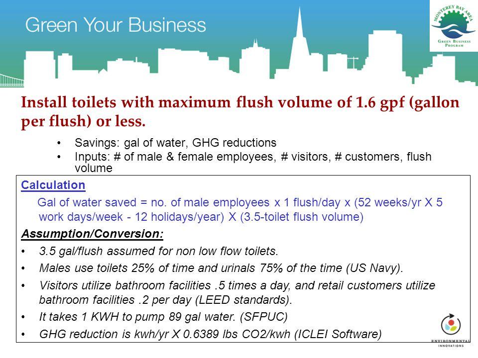 Install toilets with maximum flush volume of 1.6 gpf (gallon per flush) or less.