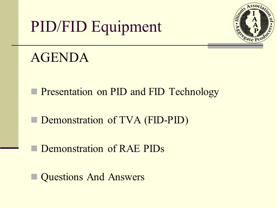 PID/FID Calibration Log PID/FID Field Use