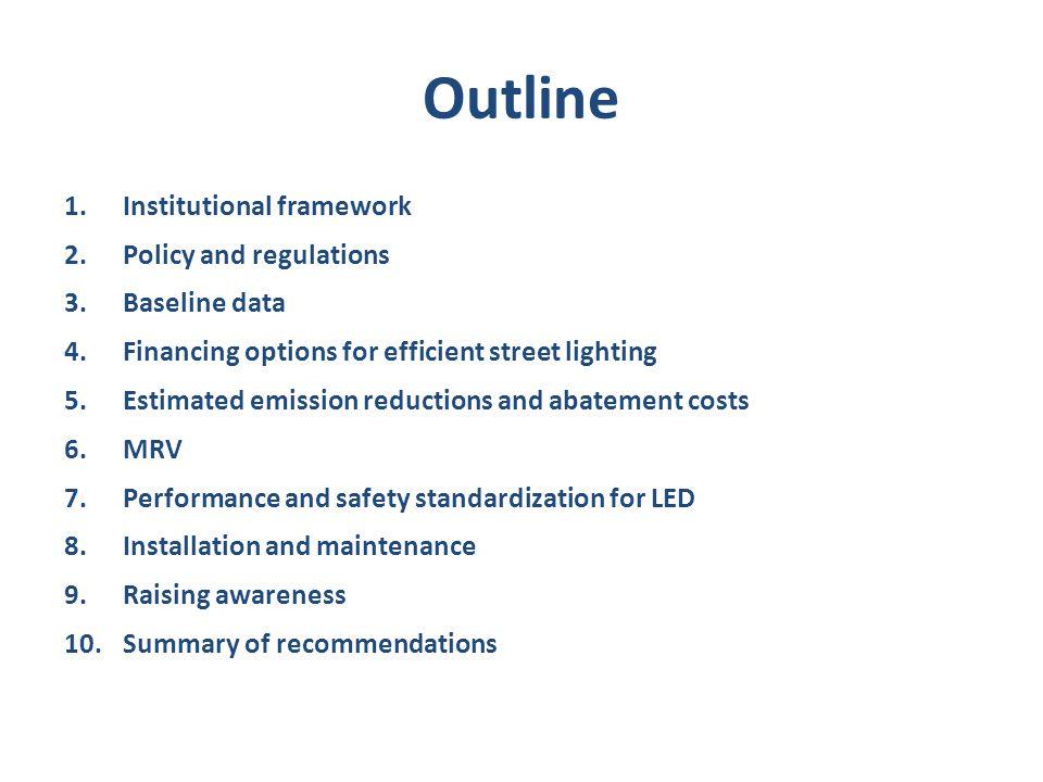 Outline 1.Institutional framework 2.Policy and regulations 3.Baseline data 4.Financing options for efficient street lighting 5.Estimated emission redu