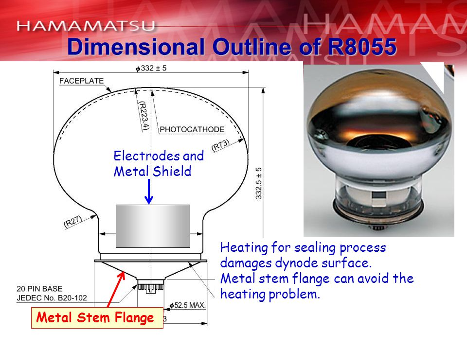 Electrodes and Metal Shield Heating for sealing process damages dynode surface.
