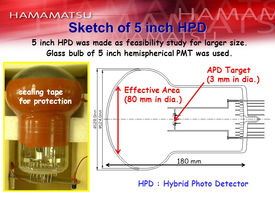 Sketch of 5 inch HPD APD Target (3 mm in dia.) 180 mm Effective Area (80 mm in dia.) 5 inch HPD was made as feasibility study for larger size.