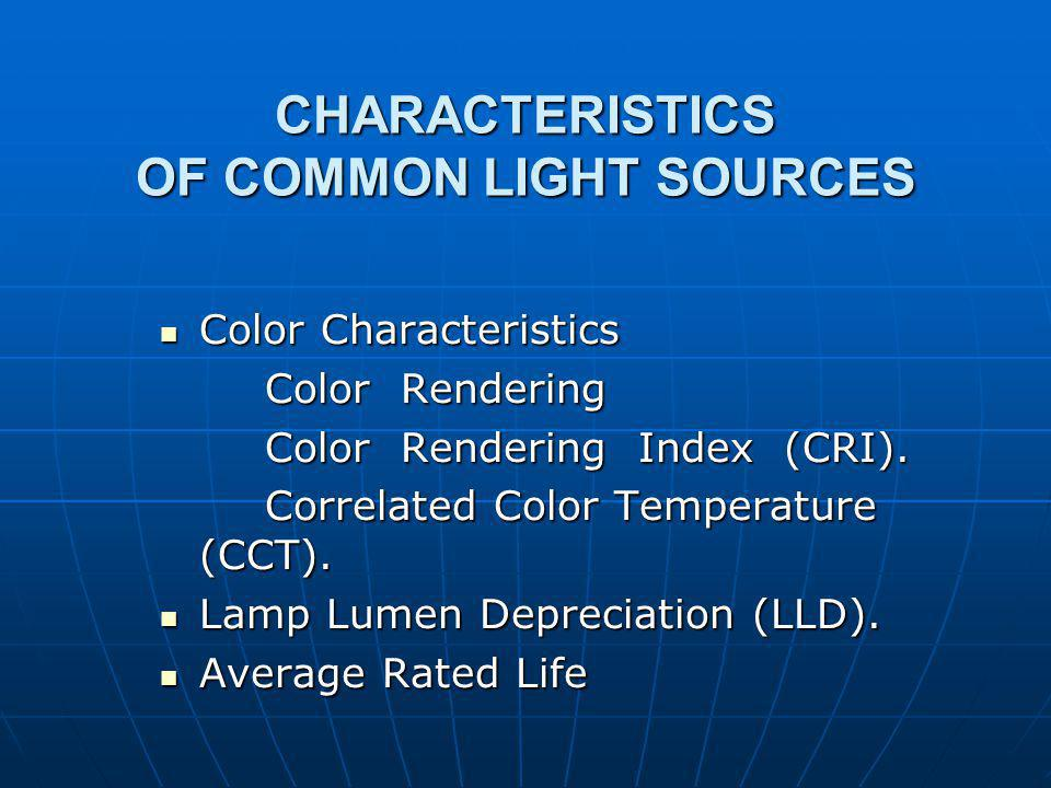 CHARACTERISTICS OF COMMON LIGHT SOURCES Color Characteristics Color Characteristics Color Rendering Color Rendering Index (CRI).