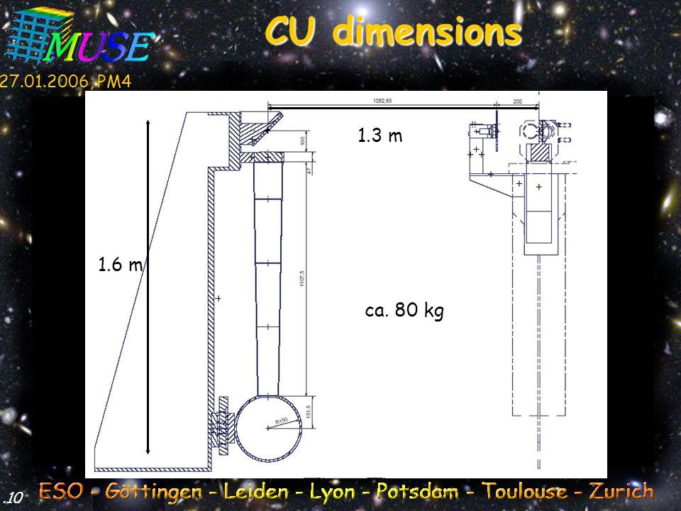 27.01.2006, PM4.10 CU dimensions 1.3 m 1.6 m ca. 80 kg