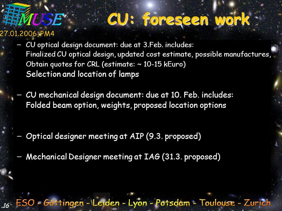27.01.2006, PM4.16 – CU optical design document: due at 3.Feb.