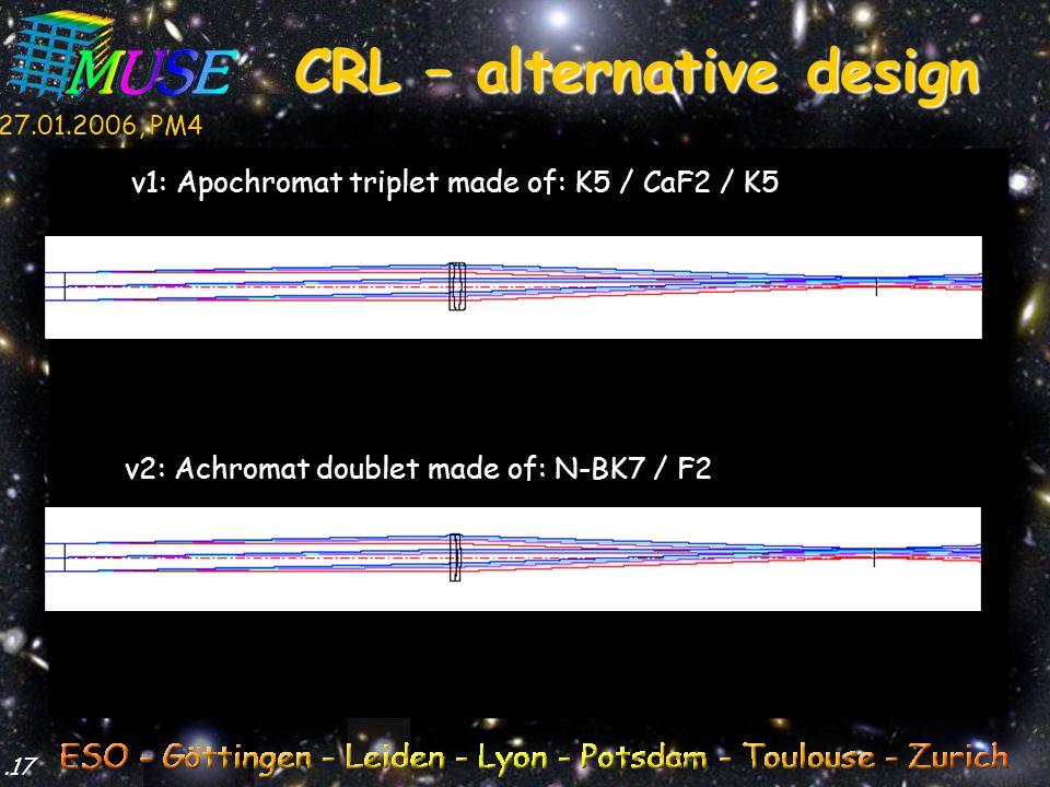 27.01.2006, PM4.17 CRL – alternative design v1: Apochromat triplet made of: K5 / CaF2 / K5 v2: Achromat doublet made of: N-BK7 / F2
