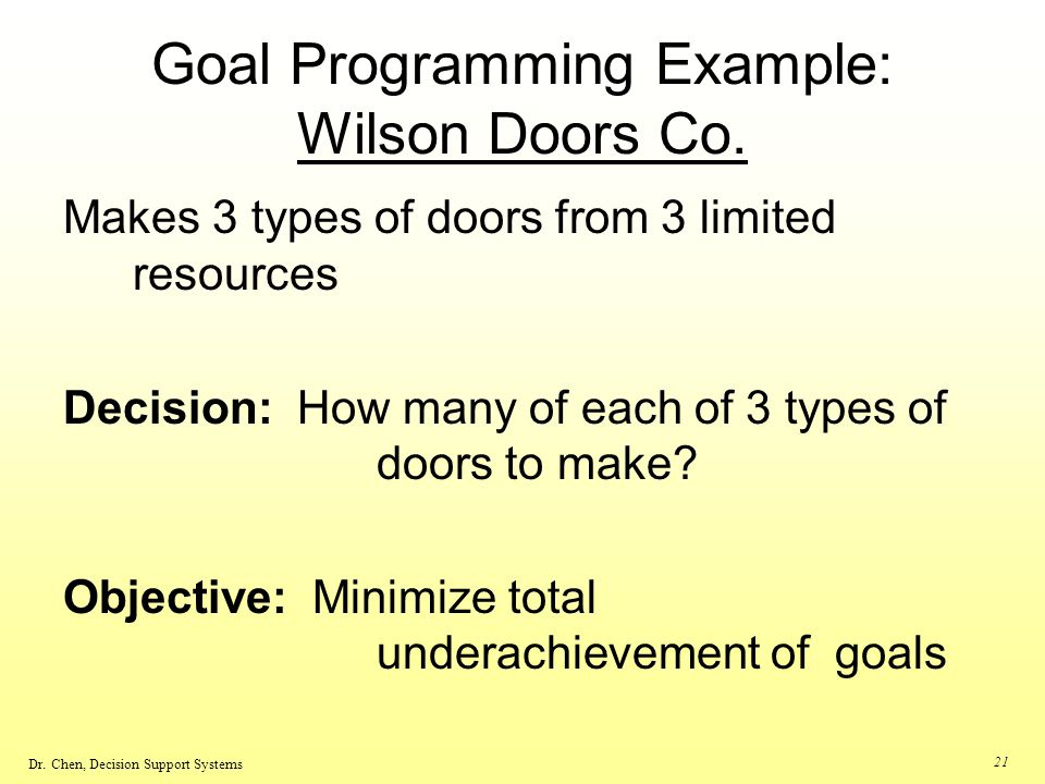 Dr. Chen, Decision Support Systems 21 Goal Programming Example: Wilson Doors Co. Makes 3 types of doors from 3 limited resources Decision: How many of