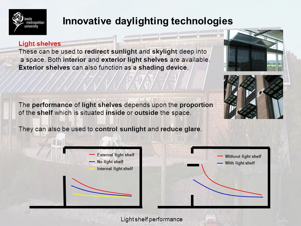 Innovative daylighting technologies Prismatic glazing and holographic diffracting systems These systems utilise optical principles to redirect light into the space in question.