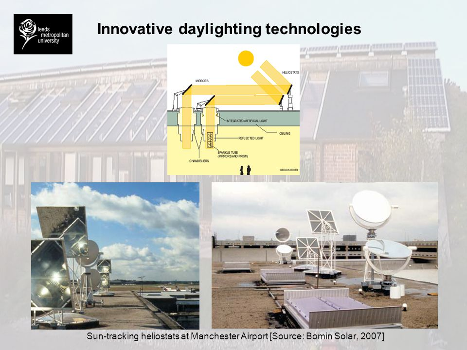 Innovative daylighting technologies Solar chandeliers at Manchester Airport [Source: Bomin Solar, 2007]