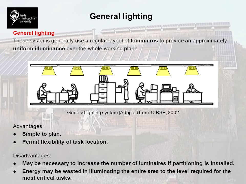 Localised lighting These systems are designed to provide the required maintained illuminance on work areas together with a lower illuminance for other areas.
