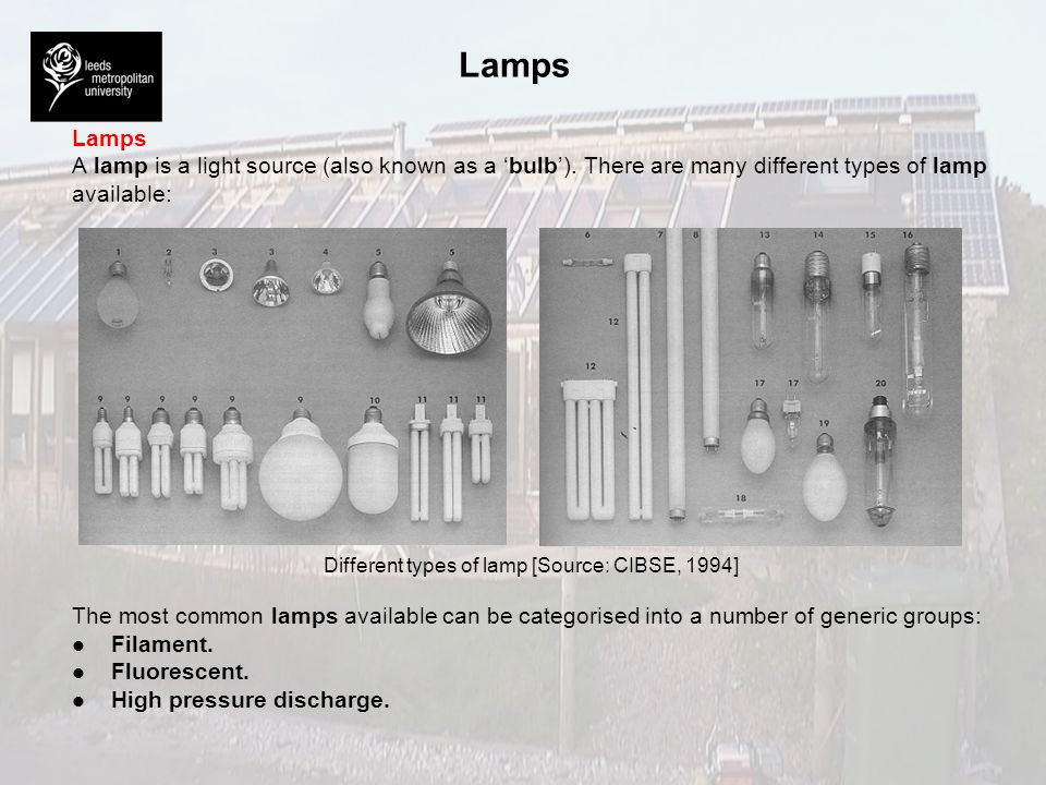 Lamps A lamp is a light source (also known as a bulb). There are many different types of lamp available: Different types of lamp [Source: CIBSE, 1994]