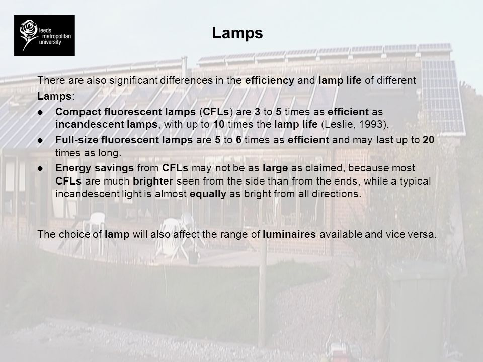 Lamps A number of factors should be taken into consideration when selecting a suitable lamp : l l Lamp efficacy – the effectiveness of any lamp in transforming electricity into light.