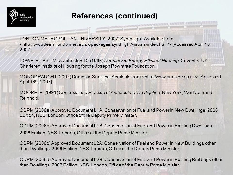 References (continued) OKALUX (2007) OKASOLAR-W.
