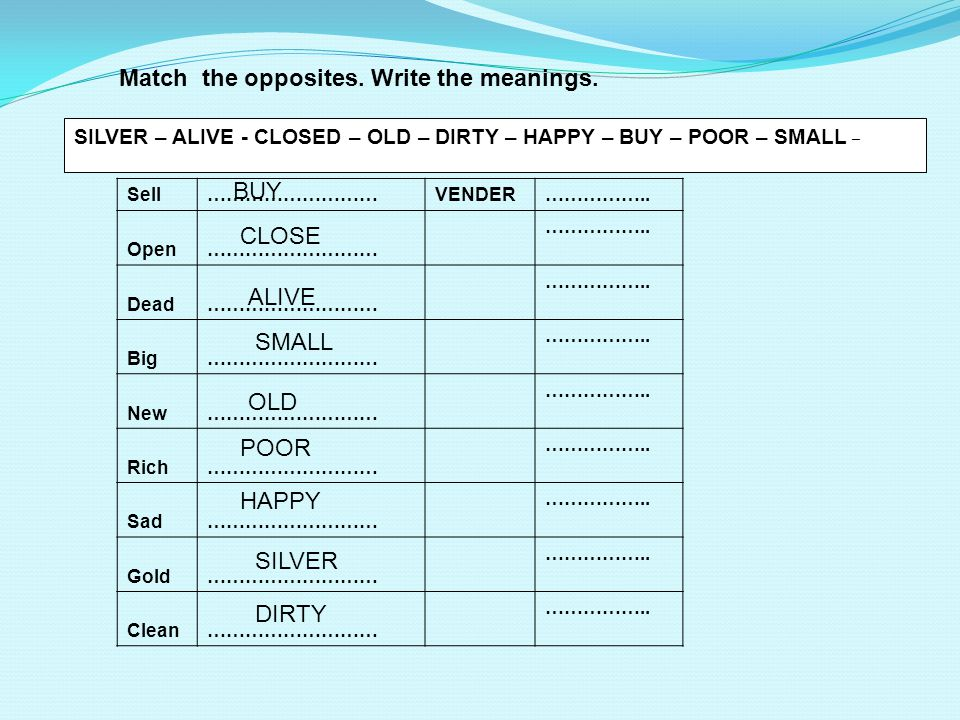 Match the opposites.Write the meanings.