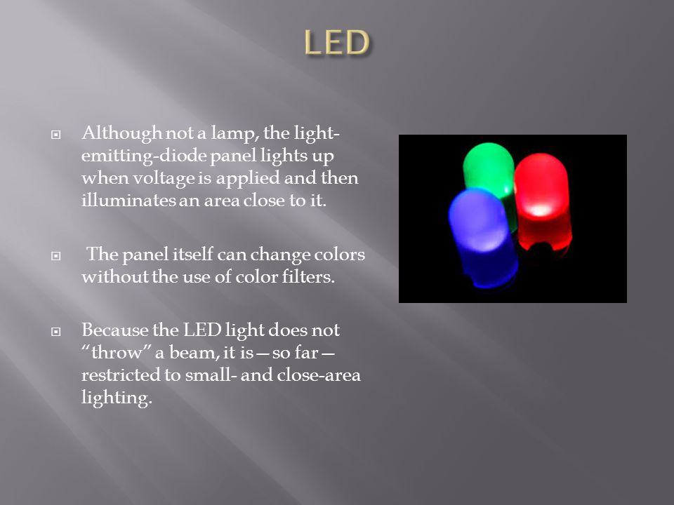 Although not a lamp, the light- emitting-diode panel lights up when voltage is applied and then illuminates an area close to it. The panel itself can