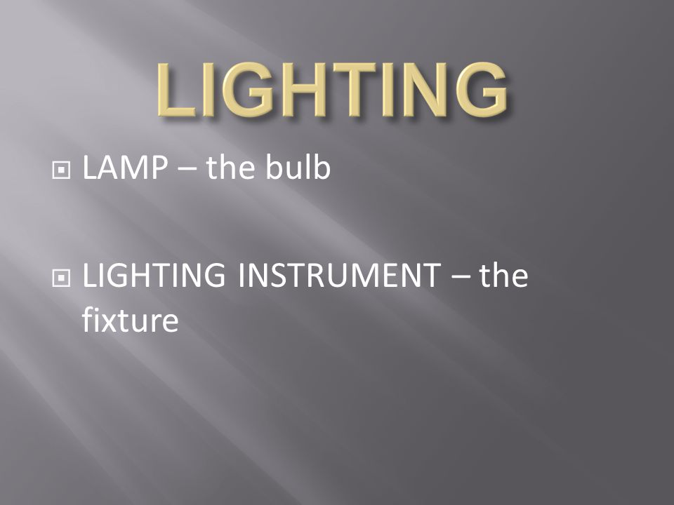 LAMP – the bulb LIGHTING INSTRUMENT – the fixture