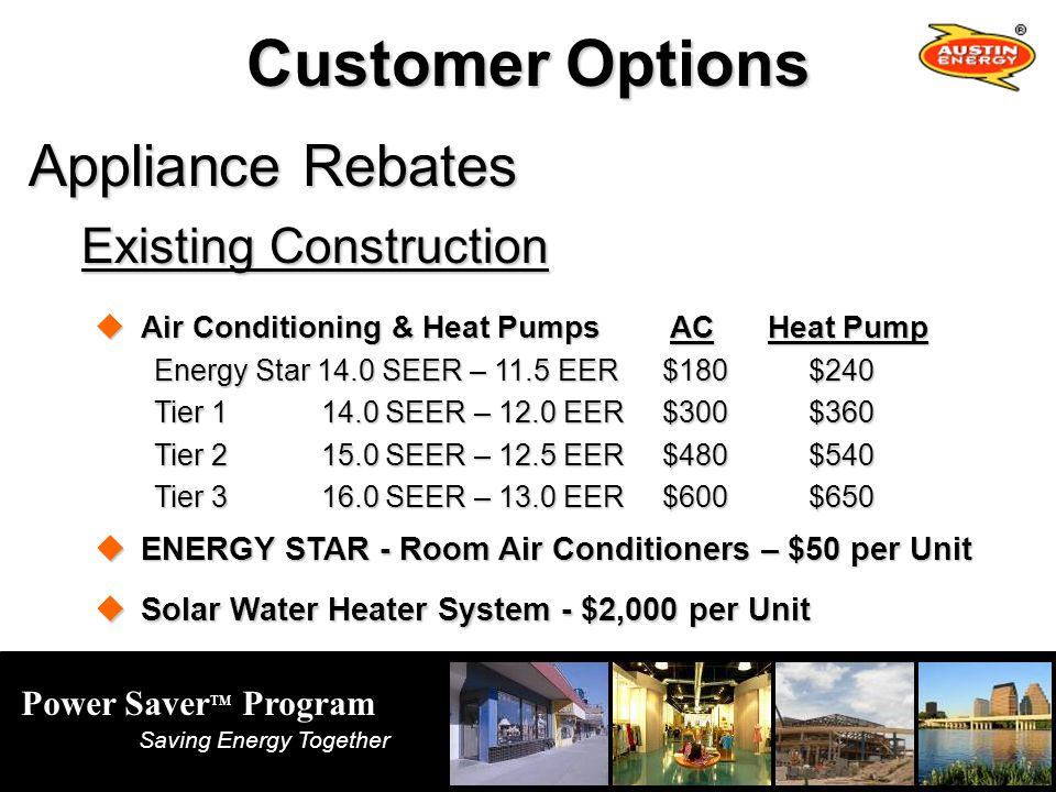 Power Saver TM Program Saving Energy Together Customer Options Appliance Rebates Existing Construction Air Conditioning & Heat Pumps ACHeat Pump Air Conditioning & Heat Pumps ACHeat Pump Energy Star 14.0 SEER – 11.5 EER$180 $240 Tier 1 14.0 SEER – 12.0 EER$300 $360 Tier 2 15.0 SEER – 12.5 EER$480 $540 Tier 3 16.0 SEER – 13.0 EER$600 $650 ENERGY STAR - Room Air Conditioners – $50 per Unit ENERGY STAR - Room Air Conditioners – $50 per Unit Solar Water Heater System - $2,000 per Unit Solar Water Heater System - $2,000 per Unit