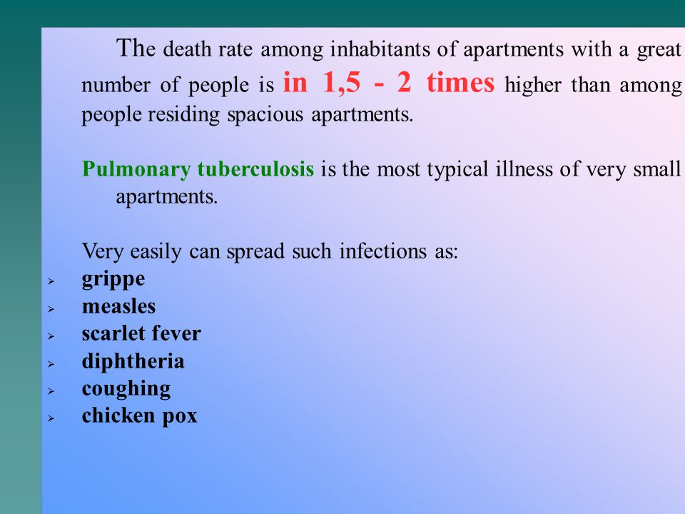 Th e death rate among inhabitants of apartments with a great number of people is in 1,5 - 2 times higher than among people residing spacious apartments.