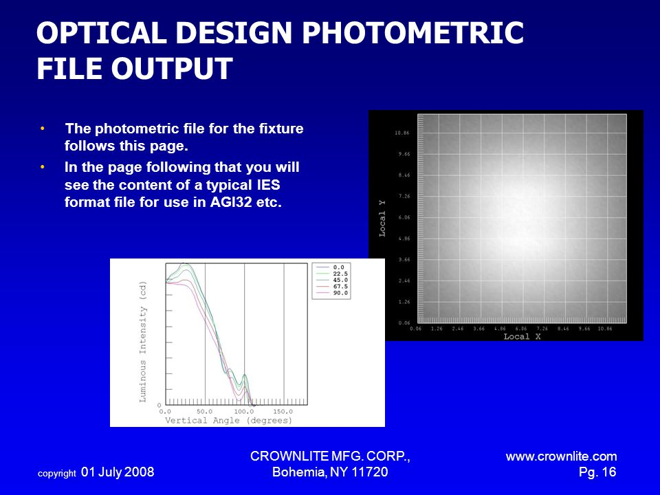 copyright 01 July 2008 CROWNLITE MFG. CORP., Bohemia, NY 11720 www.crownlite.com Pg. 16 OPTICAL DESIGN PHOTOMETRIC FILE OUTPUT The photometric file fo