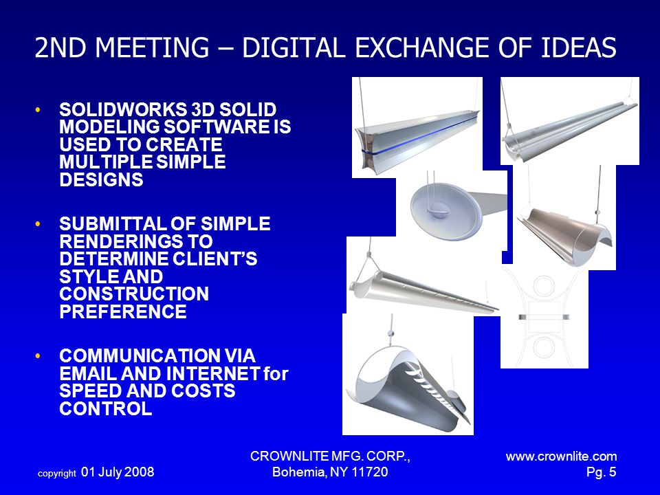 copyright 01 July 2008 CROWNLITE MFG. CORP., Bohemia, NY 11720 www.crownlite.com Pg. 5 2ND MEETING – DIGITAL EXCHANGE OF IDEAS SOLIDWORKS 3D SOLID MOD