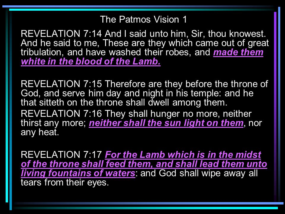 The Patmos Vision 1 REVELATION 7:14 And I said unto him, Sir, thou knowest. And he said to me, These are they which came out of great tribulation, and