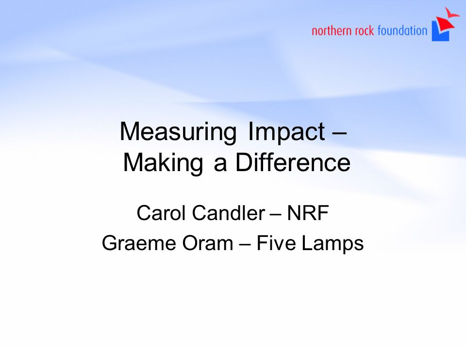Measuring Impact – Making a Difference Carol Candler – NRF Graeme Oram – Five Lamps