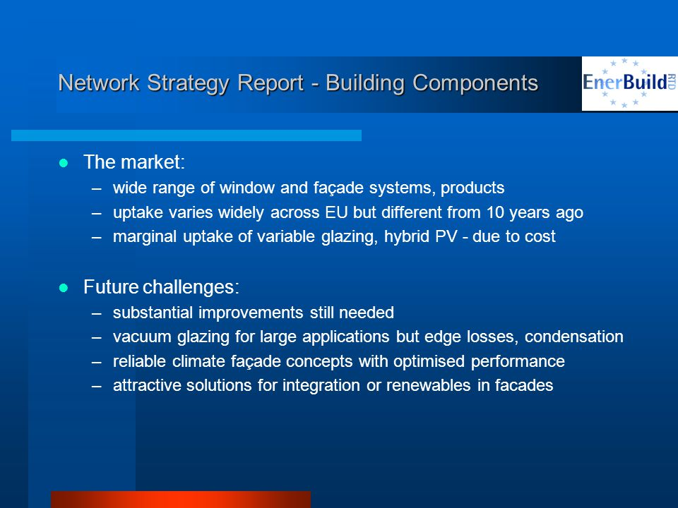 Network Strategy Report - Building Components The market: –wide range of window and façade systems, products –uptake varies widely across EU but different from 10 years ago –marginal uptake of variable glazing, hybrid PV - due to cost Future challenges: –substantial improvements still needed –vacuum glazing for large applications but edge losses, condensation –reliable climate façade concepts with optimised performance –attractive solutions for integration or renewables in facades