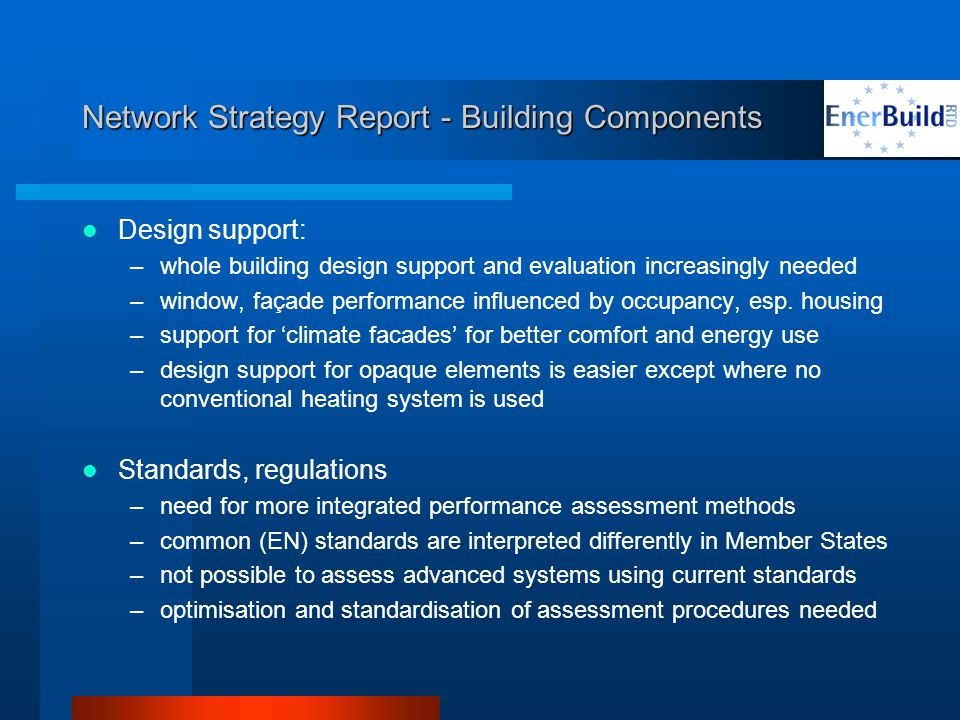 Network Strategy Report - Building Components Design support: –whole building design support and evaluation increasingly needed –window, façade performance influenced by occupancy, esp.