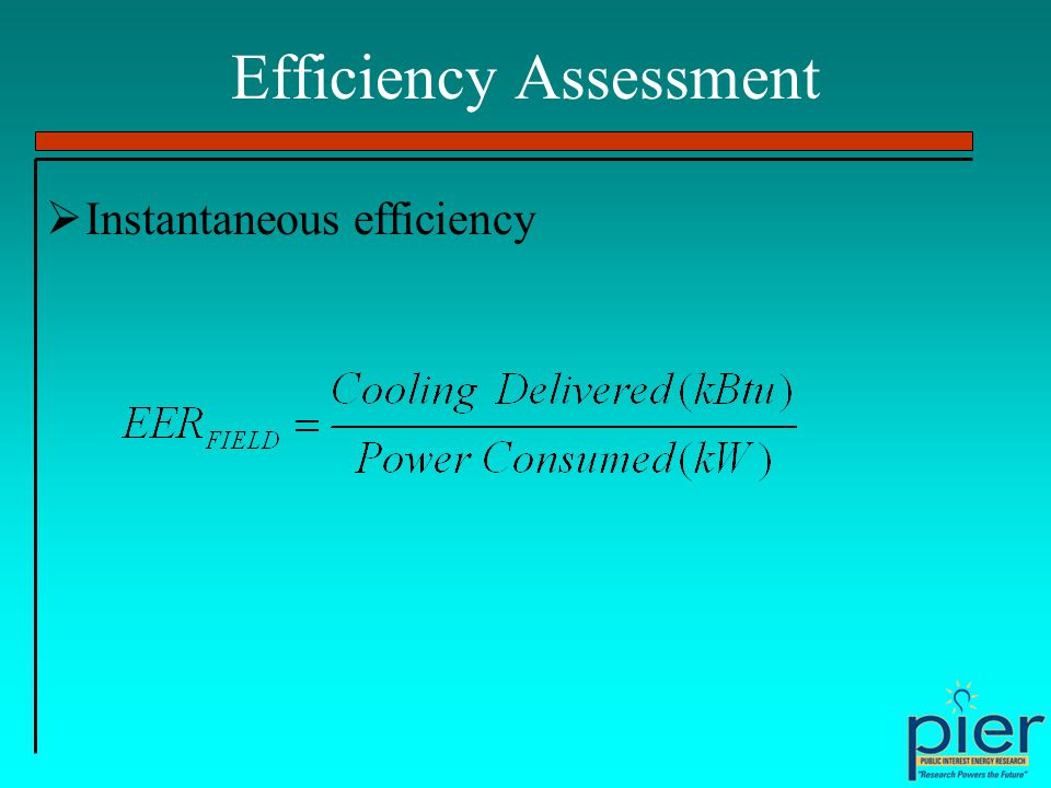 Efficiency Assessment Instantaneous efficiency