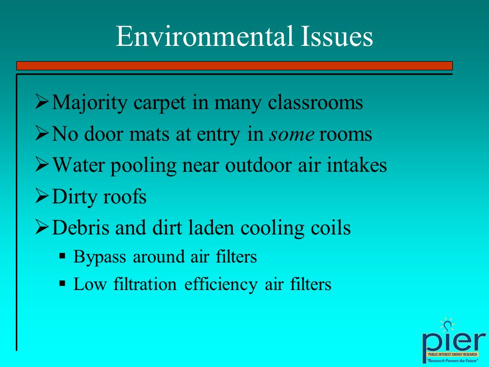 Environmental Issues Majority carpet in many classrooms No door mats at entry in some rooms Water pooling near outdoor air intakes Dirty roofs Debris and dirt laden cooling coils Bypass around air filters Low filtration efficiency air filters